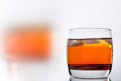 Glass of whiskey with ice Royalty Free Stock Photos