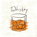 Glass of whiskey with ice. Pictured by watercolor on paper background. Hand drawn vector illustration Royalty Free Stock Image