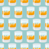 Glass of whiskey and ice seamless pattern. Scotch background. Dr. Ink texture. Alcohol ornament stock illustration