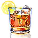 Glass of whiskey with ice. Watercolor painting on white background Royalty Free Stock Photos