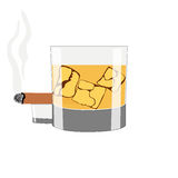 A glass of whiskey with ice on a white background. A smoking cigar on a white background stock illustration