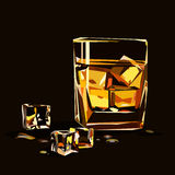 Glass of whiskey isolated with ice cubes Stock Photography