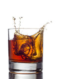 Glass of whiskey solated on white background Stock Photos