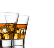 Glass of whiskey solated on white background Royalty Free Stock Photos