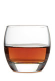 Glass for whiskey ten. Glass with brandy and whiskey on white background Stock Images