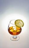 Glass of whiskey. Glass tumbler of whiskey with ice cubes and lemon Stock Photography