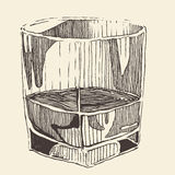 Glass of whiskey vintage illustration, engraved retro style Royalty Free Stock Photography