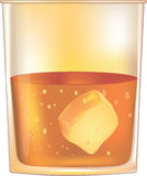 Glass from whiskeys and with ice Stock Photography