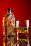 Glass and whisky bottle Royalty Free Stock Photo