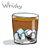 Glass of whisky with ice. Colored vector Stock Photography