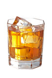 Glass of whisky with ice cubes isolated Stock Photo