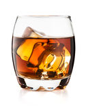Glass of whisky isolated on white background Stock Photos