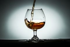 Glass white background vignette dishes with Cognac Alcohol Tea royalty free stock photography