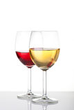 Glass of white and red wine Stock Images