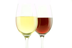 Glass of white and red wine isolated Royalty Free Stock Image