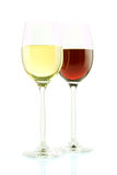 Glass of white and red wine isolated Royalty Free Stock Photo