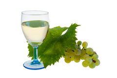 Glass of White Vine and Organic Grapes. Isolated on White Background Stock Image