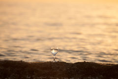 Glass of white vine with reflections of sun and sea on the backg Stock Images