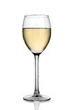 Glass of white wine. Single glass of white wine, isolated on a white background royalty free stock image