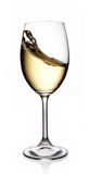Glass of white wine. On white background Royalty Free Stock Photos