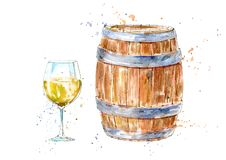 Glass of a white wine and barrel.Picture of a alcoholic drink. Watercolor hand drawn illustration.White background vector illustration