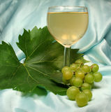 Glass white wine on blue backg Stock Photo