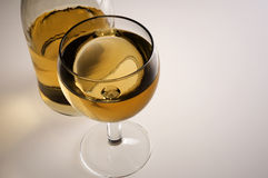 Glass of white wine and bottle. White wine and bottle Stock Photography