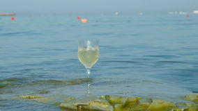 Glass of white wine by the coast.on the rocks, stock footage