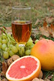 Glass of white wine among a fruits. In the grass Royalty Free Stock Photos