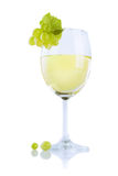 The glass of white wine with grape Royalty Free Stock Photos
