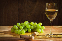 Glass of white wine with grapes Stock Photography