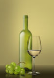 glass of white wine and grapes Stock Photography
