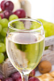 glass of white wine and grapes in the background, close-up Royalty Free Stock Photography