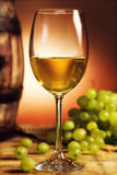 Glass of white wine and grapes Royalty Free Stock Photo