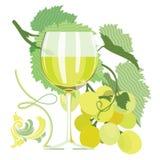 Glass of white wine, grapes, grape leaves. Ornamental, flat illustration Stock Images