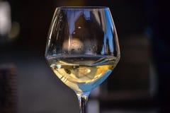 Glass of white wine half full Royalty Free Stock Image