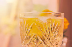 Glass of White Wine with Ice Royalty Free Stock Images