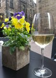 Flowers and White Wine Royalty Free Stock Images