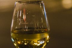 Glass of White WIne at Night royalty free stock photo