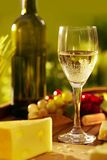 Glass of white wine outdoor Royalty Free Stock Photo