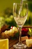 Glass of white wine outdoor Stock Photo