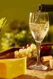 Glass of white wine outdoor Royalty Free Stock Images