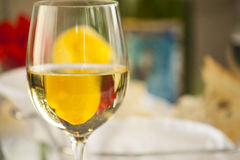 Glass of white wine. Royalty Free Stock Photos