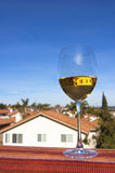 Glass of white wine and a Southern California view Stock Photo