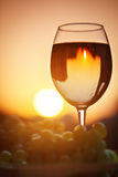 A glass of white wine at sunset, with the reflection of the houses. Royalty Free Stock Photography