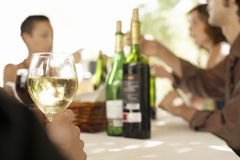 Glass Of White Wine On Table At Party Royalty Free Stock Photos