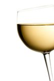 Glass of white wine tilted with space for text Royalty Free Stock Photos
