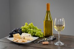 White Wine with Cheese royalty free stock photo