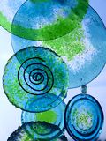Glass wind chimes. Blue and green glass plates hanging like wind chimes stock illustration