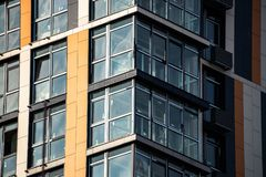 Glass window buillding architecture city Kiev new. Scape Stock Images